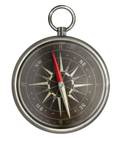 old metal compass with dark face isolated on white Stock Photo - 16921421