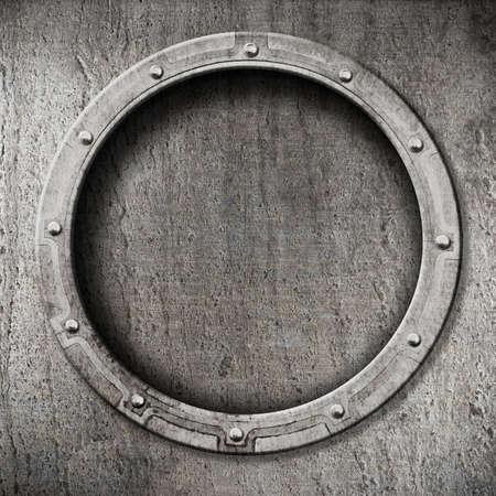 a battleship: metal porthole background