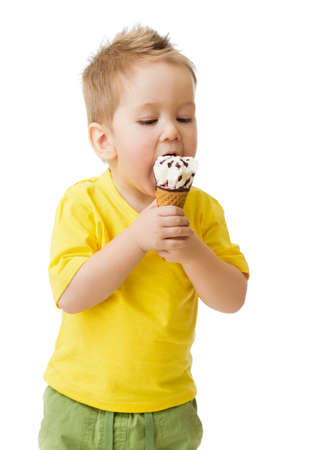 Child eating ice cream isolated on white photo