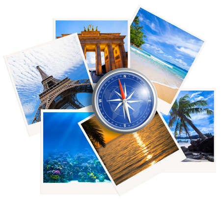 travelling: Traveling photos collage with compass on white background