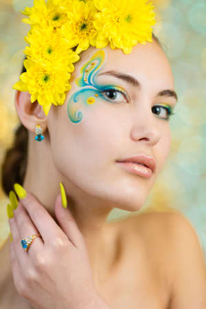 fantasy makeup: Young girl model with fantasy makeup closeup portrait Stock Photo