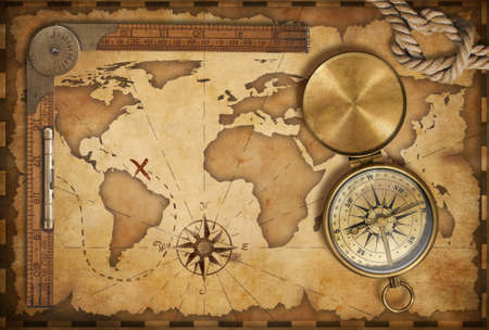 vintage world map: aged treasure map, ruler, rope and old brass compass with lid