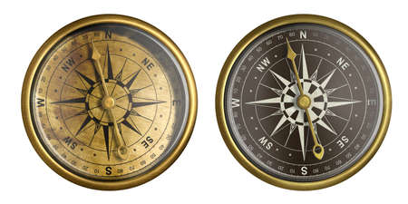 nautical compass isolated on white collection Stock Photo - 17419446