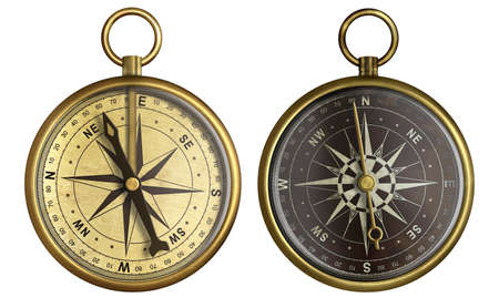 orientation: Old compass collection. Two aged brass antique nautical pocket compass isolated on white.