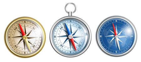 compass illustrations set isolated on white Stock Illustration - 17419444