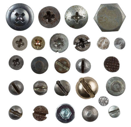 screws, nails, bolts heads isolated on white collection photo
