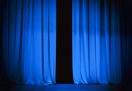 blue curtain: blue stage curtain slightly open