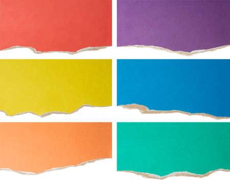 gescheurd papier: kleurrijke gescheurd karton collectie