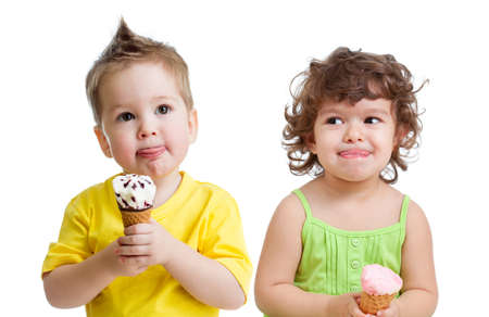 kids with cone ice cream isolated on white photo