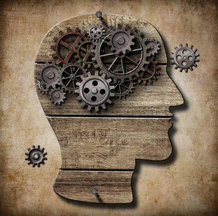 enfermedades mentales: Cerebro humano met�fora obra hecha de engranajes de metal oxidado