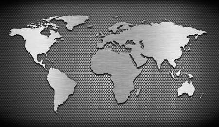 hexahedral: metal world map on grate comb background