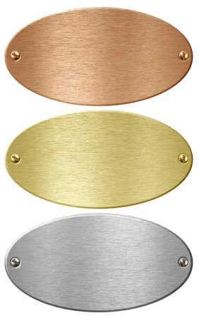 ovals: Silver, gold and bronze metal ellipse plates isolated with clipping path included