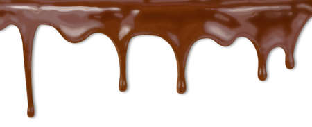 fondant: liquid chocolate dripping from cake on white background with clipping path included  High resolution illustration