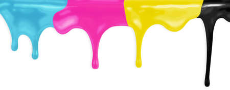 CMYK cyan magenta yellow black paints isolated with clipping path included Stock Photo - 17691612