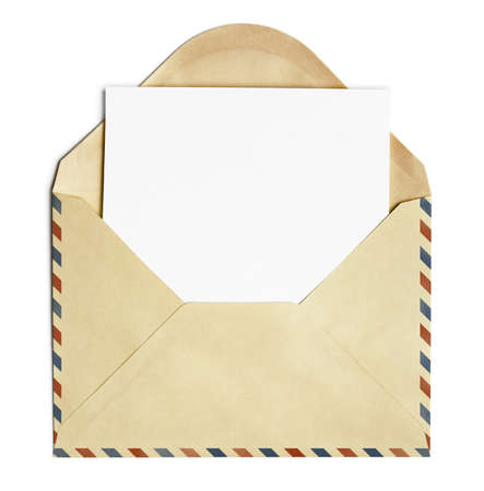 air mail: old open air post envelope  with blank paper sheet isolated on white