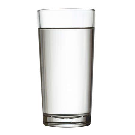 WATER GLASS: alto bicchiere pieno d'acqua isolati su bianco clipping path incluso