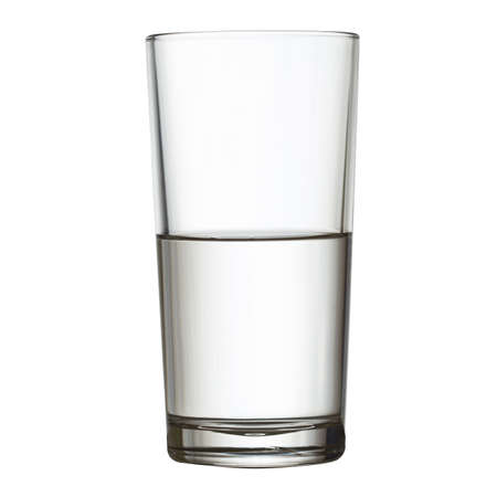 halves: tall half full glass of water isolated on white clipping path included