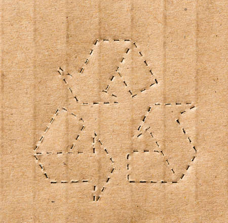 corrugate: recycling symbol on the carton background Stock Photo