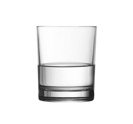 low glass: low half full glass of water isolated on white with clipping path included