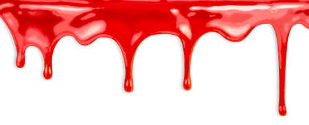 paint drip: liquid red paint dripping on white background Stock Photo
