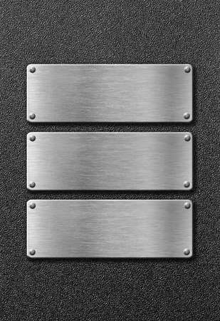 aluminum plate: three stainless steel metal plates Stock Photo