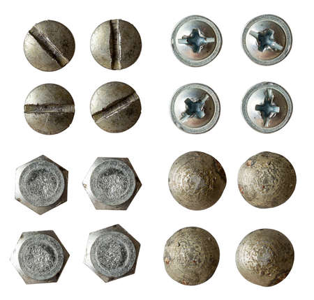 iron cross: screw, bolt, rivet head collection isolated on white with various light Stock Photo