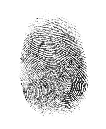 identity thieves: fingerprint isolated on white Stock Photo