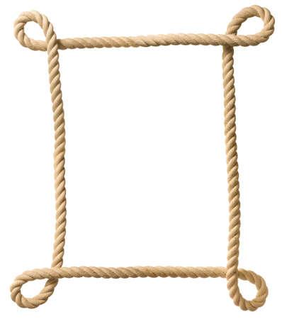 twine: Rope frame isolated on white Stock Photo