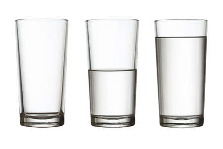 empty space: tall empty, half and full glass of water isolated on white with clipping path included