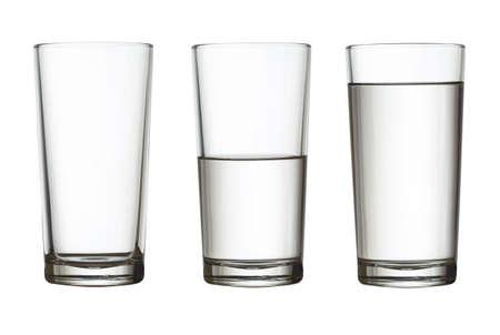 vaso vacío, medio lleno de agua y aislado en blanco con trazado de recorte incluidos