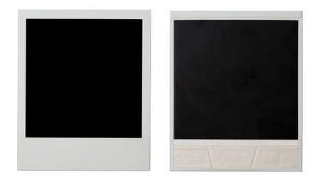 ambos: polaroid photo frame ambos lados aislados en blanco Foto de archivo