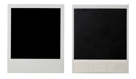 the sides: polaroid photo frame both sides isolated on white Stock Photo