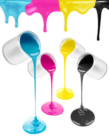 paint spill: Magenta, cyan, yellow and black liquid paints isolated