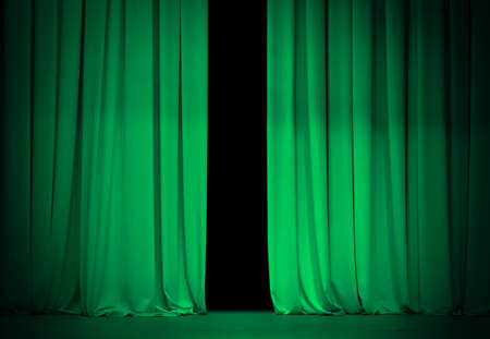 curtain: green or emerald curtain on theater or cinema stage slightly open