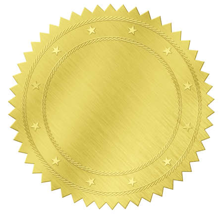 certificate seal: gold seal label with clipping path included