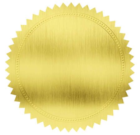 gold seal label with clipping path included photo