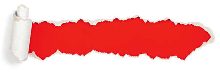 red packet: red header in torn paper hole Stock Photo