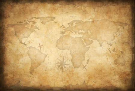 vintage world map: aged treasure map background Stock Photo