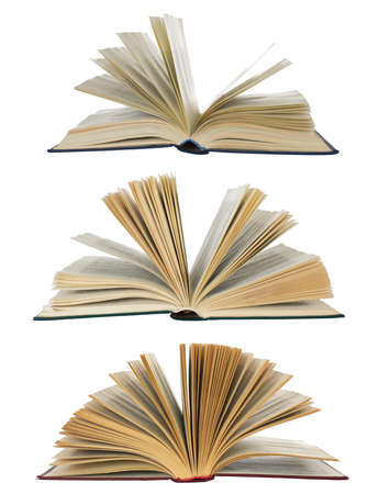 open books collection isolated on white photo