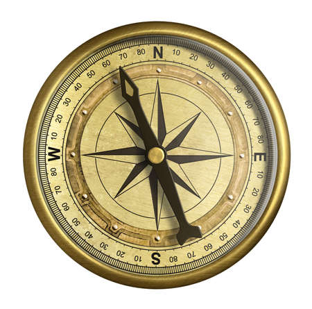 antique nautical compass isolated on white Stock Photo - 18354063
