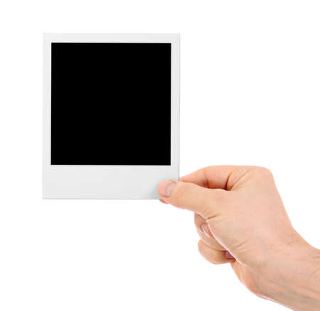 instant: Hand holding instant shot frame isolated Stock Photo