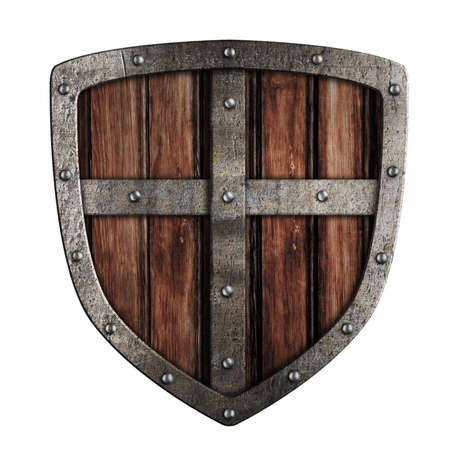 iron cross emblem: Old crusader wooden shield illustration isolated on white