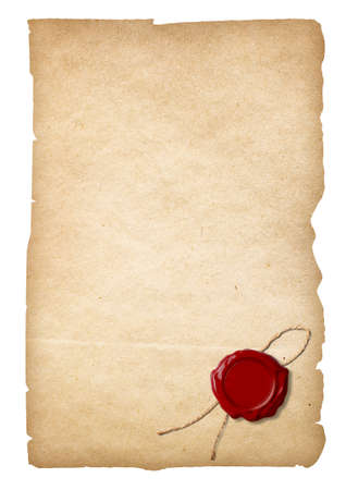 Old paper with wax seal isolated. Clipping path is included. photo