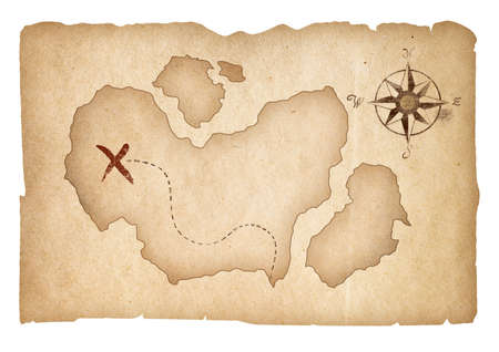 Old treasure map isolated. Clipping path is included. photo