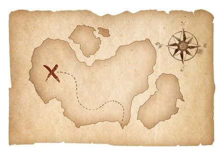 carte trésor: Vieux carte au trésor isolé. Chemin de détourage est inclus.