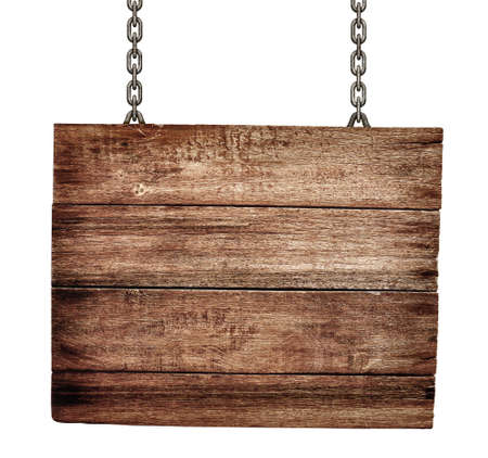 old wooden signboard with chains isolated photo