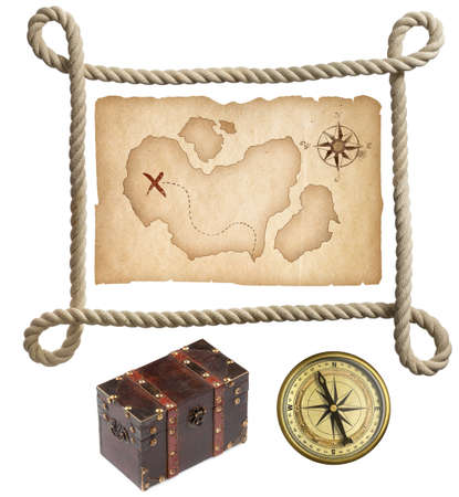 Old treasure map, rope frame, chest and compass isolated on white photo