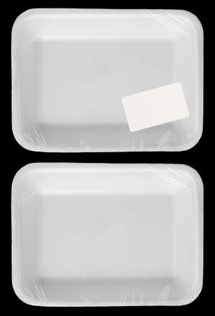 Wrapped empty plastic white food container with blank label isolated photo