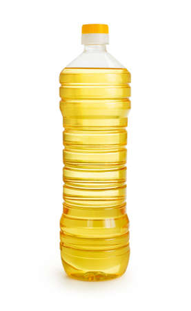 sunflower oil: vegetable or sunflower oil in plastic bottle isolated with clipping path included