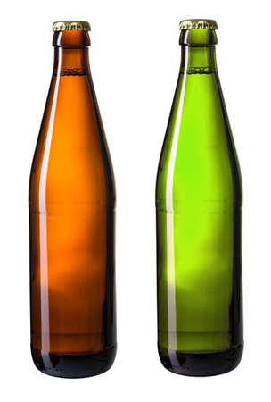 brown and green bottles of beer isolated on white with clipping path included photo